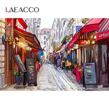Laeacco – arrière plan pour photographie, banderole de rue, stand, boutique de ville, dessin animé, Studio Photo
