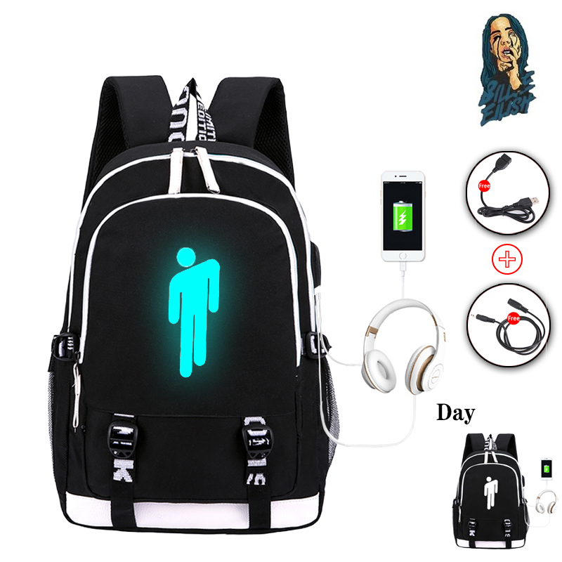 Pop Singer Billie Eilish Luminous Backpack For Teenage Boys Girls School Bag Can USB Charging And Waterproof Laptop Backpack