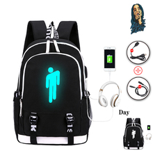 Pop Singer Billie Eilish luminous backpack for Teenage Boys Girls School Bag Can