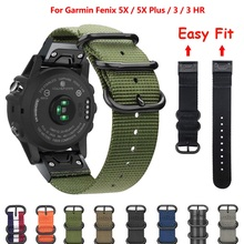 For Garmin Quick Fit 26mm/22mm NATO Nylon Watch Band Strap for Garmin Fenix 5/5 Plus/Fenix 5X/Fenix 3/D2 Delta PX цена