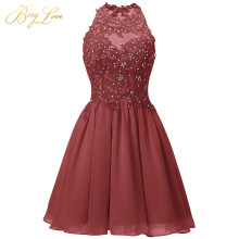 Короткое Темно-красное платье для выпускного вечера Мини с бисером и кружевной аппликацией vestido de formatura с открытой спиной и лямкой на шее выпускное платье