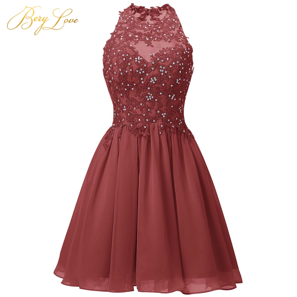 Short Dark Red Homecoming Dress 2020 Mini Beaded Lace Appliques Vestido De Formatura Open Back Halter Neck Graduation Prom Gown
