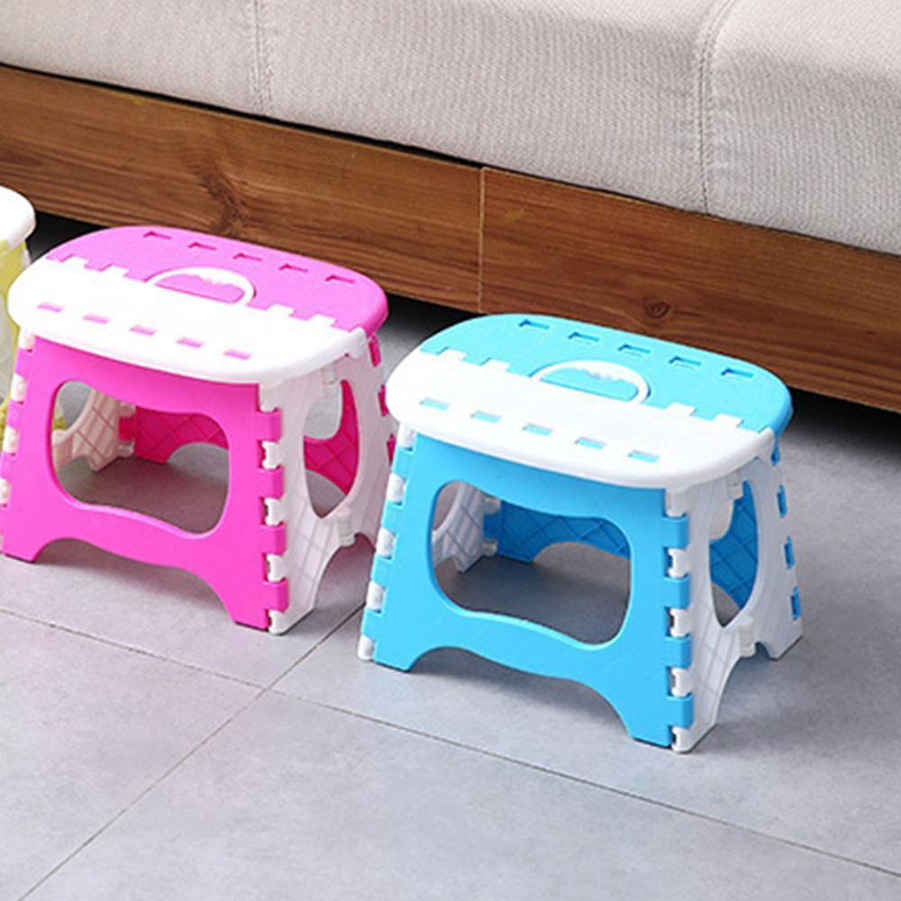 Folding Step Stool Foldable Plastic Portable Small Chair Bench For Children Kids Outdoor Bathroom Travel Camping With Handle