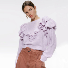 KIYUMI Sweater Women Urban Gypsy For woman 2019 Autumn Long Sleeve V-neck Pullovers Loose Purple Ruffles Casual Sweaters