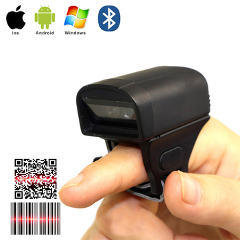цена на Mini Bluetooth Wireless finger barcode scanner Bar code reader CCD 1D Laser 2D QR Wearable Ring code Portable Handheld scanner