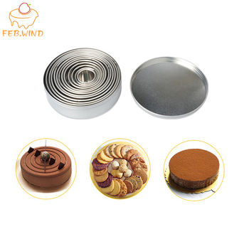 FEBWIND Baking Pastry Tools Stainless Steel Mousse Cake Mold for Kitchen Circle Cake Tools Cookie Cutter Moulds 12PCS 002