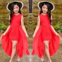 Шифоновое вечернее платье для девочек-подростков, красное, розовое элегантное платье для возраста 5, 6, 7, 8, 9, 10, 2021 лет, 1112