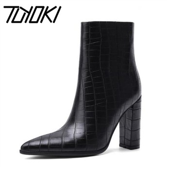 Tuyoki Size 34-43 Women Ankle Boots Zipper Thick High Heel Winter Shoes Women Sexy Pointed Toe Office Lady Short Boot Footwear