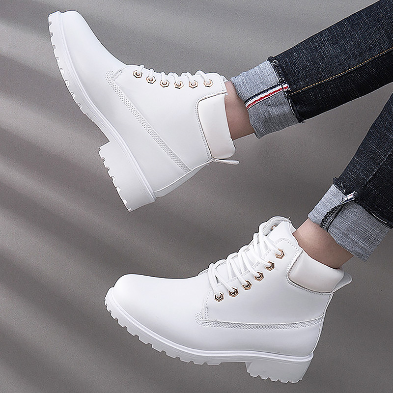 Ankle-Boots Heel-Shoes Square Lace-Up Warm Plus-Size Women New-Fashion Solid Winter