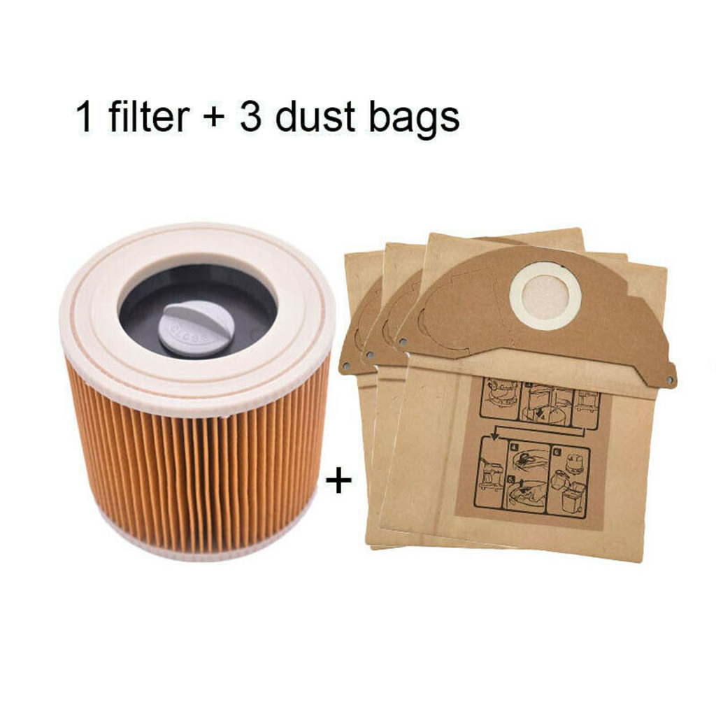 Dust Hepa Filters+3Pcs Paper Bags For Karcher Vacuum Cleaners Parts Cartridge HEPA Filter A2204 VC6100 A2004 WD3.200 VC6200 4.1