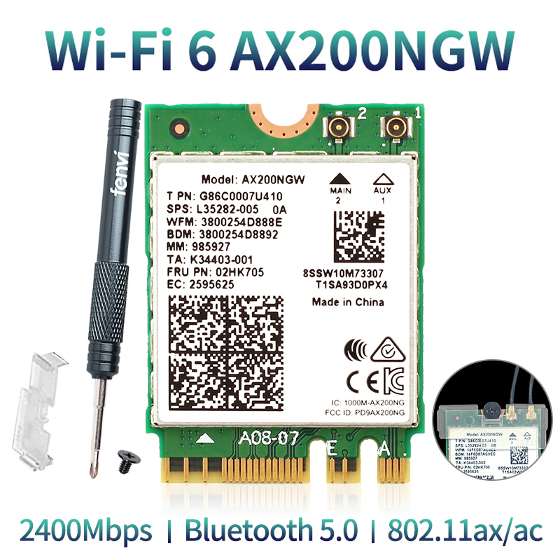 Wireless Dual Band 2400Mbps WiFi 6 For Intel AX200 NGFF M.2 Bluetooth 5.0 Network Card AX200NGW Adapter 2.4G/5Ghz 802.11ac/ax