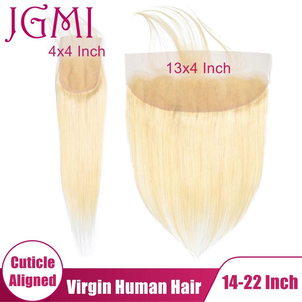 Jgmi em linha reta 613 loira cabelo humano virgem cru 13x4 laço suíço frontal 4x4 5x5 fechamento frontal para preto onda do corpo feminino