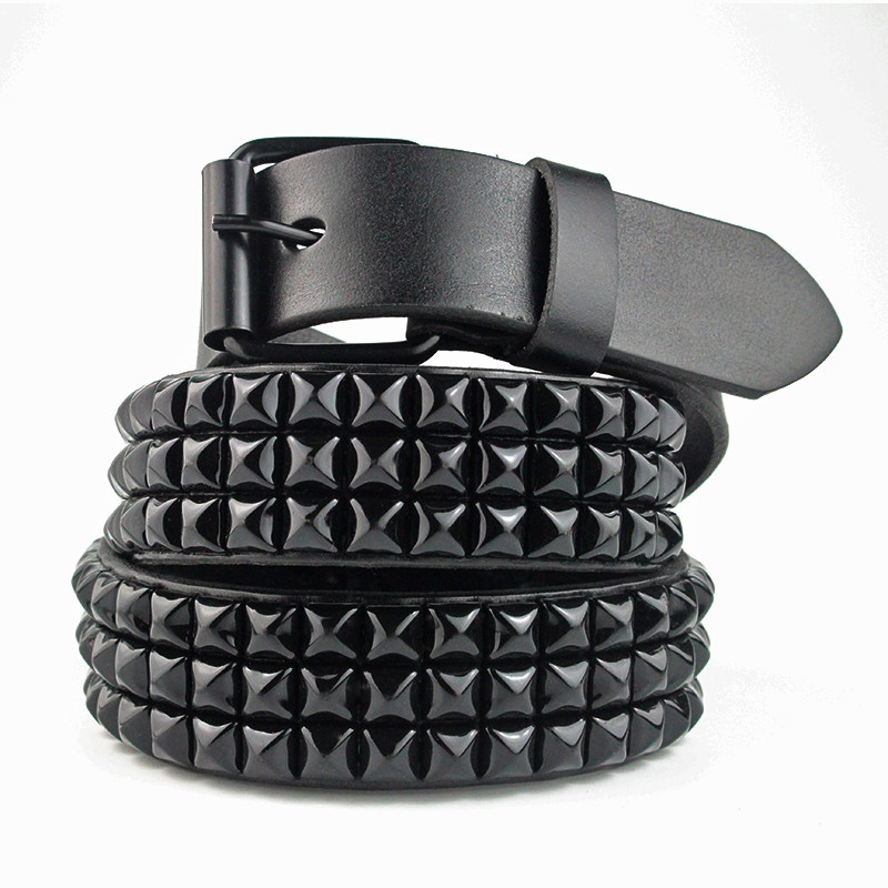 Designer Belts Men High Quality Black Pyramid Rivet Cowhide Leather Belt Fashion Luxury Brand Women Jeans Men&Women's Punk Belt