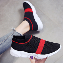 Womens Summer Sneakers On The Platform Air Mesh Slip Breathable Sock Sneaker Woman Rubber Wedges Shoes For Women