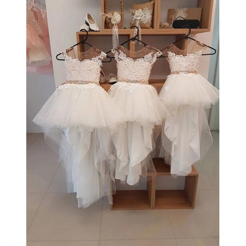 primera comunion 2019 vestido flores Hi Low   Flower     Girl     Dresses   Beads Appliques Crystal Sash Long   Flower     Girl     Dress   sukienki