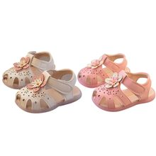 Summer Baby Girl Breathable Anti-Slip Flower Design LED Luminous Shoes Sandals Toddler Soft Soled First Walkers New Hvlv(China)