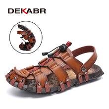 DEKABR Summer Mens Sandals Beach Shoes Summer Leisure Beach Roman Men Outdoor Sandals High Quality Soft Bottom Sandals Slippers
