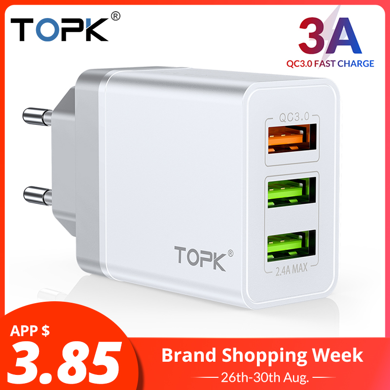 TOPK Usb-Charger Wall Travel Note-7 Xiaomi Redmi Fast Samsung S10 Qc 3.0 for S9 Xiaomi/Mi-9/Redmi/..
