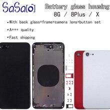 아이폰 8 플러스 X XR XS 최대 8G 8 P 후면 하우징 커버 배터리 유리 후면 도어 섀시 프레임 부품에 대 한 10Pcs 교체