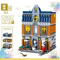 Zhegao ql0935 criador moc street view série hill tavern blocos de construção 1367 peças tijolos brinquedos conjuntos criador compatível