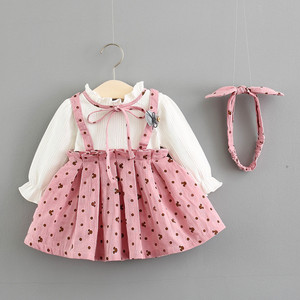 Image 1 - Baby Girl Dress Cotton Print Bow Princess Dress With Baby Headbands 2pcs Clothes Set Birthday Party Dress Infant Clothes