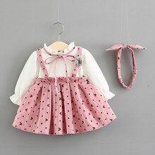 Baby Girl Dress bawełna druku łuk księżniczka sukienka z opaski dla dzieci 2 sztuk zestaw ubrań sukienka na przyjęcie urodzinowe odzież dla niemowląt