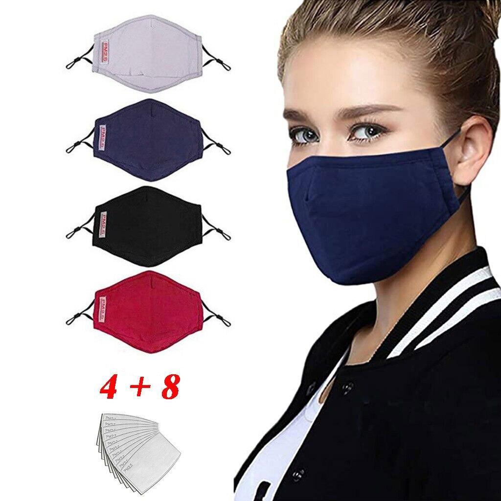 Хлопковая маска Pm2.5, пылезащитные маски с половинным горлом, черная теплая унисекс маска, Непродуваемые Многоразовые моющиеся мягкие маски ...