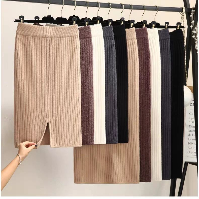 Thick 300g Knitted Skirt Mid-length Sheath Step 2019 Autumn And Winter High-waisted Slit Wool Skirt Children