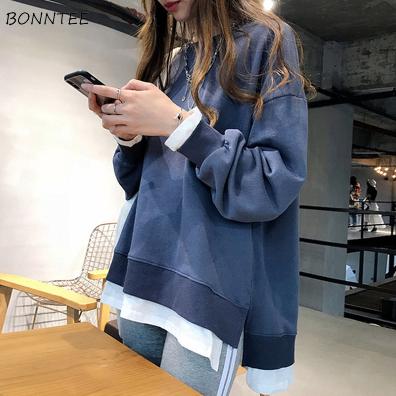 Hoodies Women Ulzzang Soft All-match Spring Autumn Thin Korean Style Loose Long Sleeve Patchwork Fashion Simple Womens Clothing
