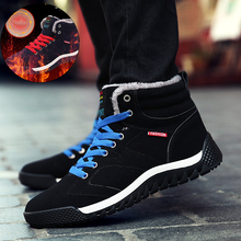 FLARUT Men Winter Shoes Outdoor Sport Shoes Snow Boots Camping Running Plus Fur Sneakers Waterproof High Top Leather Big Size 48