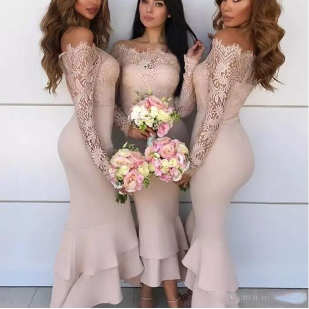 Long Sleeves Hi-Lo Ruffles Satin Wedding Party Gowns Formal Gowns Off Shoulder 2018 Cheap Lace Mermaid Bridesmaid Dresses