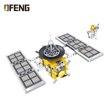 space city Saturn Model Falcon Satellite Discovery Spacecraf Building kits Blocks Sets airship kids Toy Children