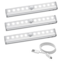 10LED Motion Sensor Magnetic LED lights for Closet Wireless Rechargeable, Stick on Anywhere for /Wardrobe/Drawer/Cupboard(3Pack