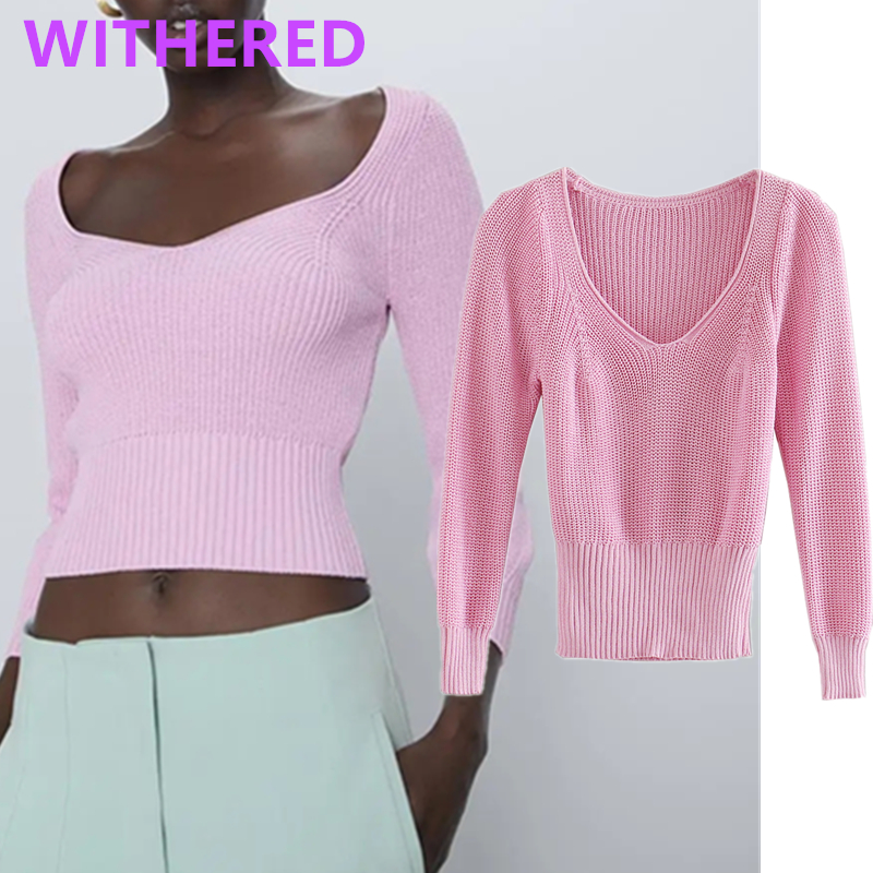 Withered England Office Lady Vintage Violet Square Collar Short Summer Sweaters Women Pull Femme Sweaters Women Pullovers Tops