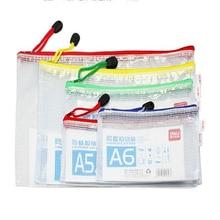 1 шт флодер мешок ПВХ сетка молния мешок водонепроницаемый для подачи продуктов папка для хранения файлов цвет случайный Deli 5655