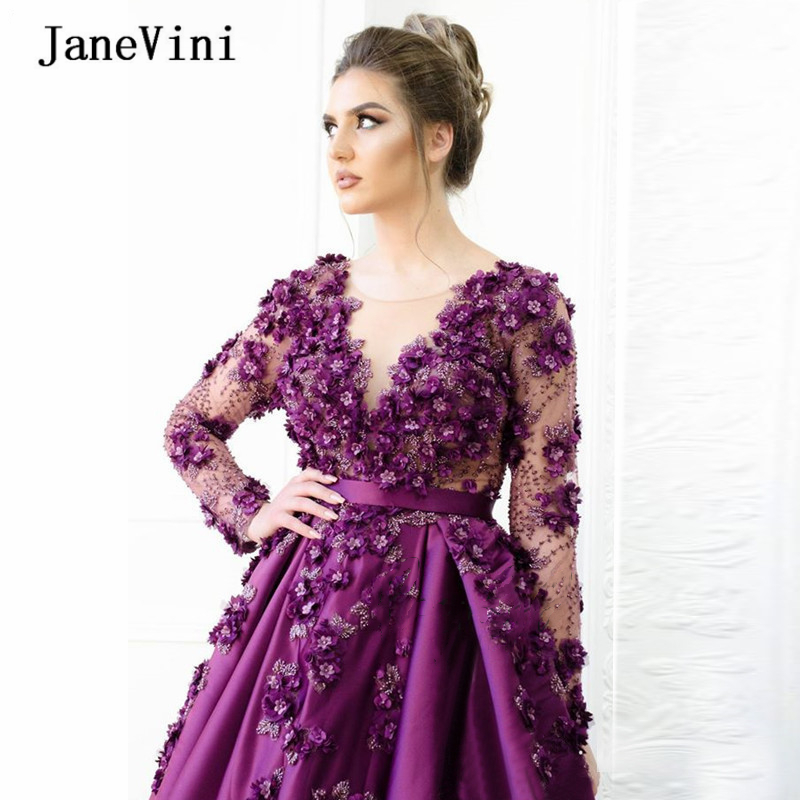 JaneVini Gorgeous Purple Long Sleeves Arabic Quinceanera Dresses Ball Gown Scoop Neck Handmade Flowers Beaded Satin Formal Gowns