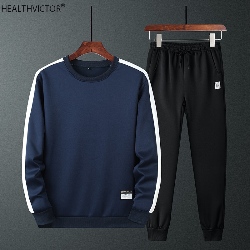 Two-piece Casual Outdoor Hiking Long Sleeve O-neck T-shirt Men Sports Suit Set Student Young Man Sweatshirt Pants Sweatsuit