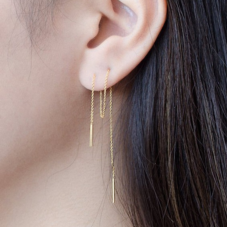 8CM Long   Temperament Double Needle Female Simple Tassel Earrings Pendant Japanese Korean Ear Chain