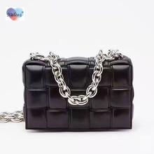 Big golden chain bag women real leather woven cross-body bag
