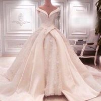 2017 Cathedral Wedding Gowns Luxury Royal Puffy Catherdarl Train Lace Wedding Dresses Bridal Gowns Organza