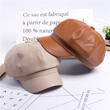 New Beret Cap Fashion Women Casual PU Leather Hat for Autumn Winter Retro Painter Newsboy Hats Female