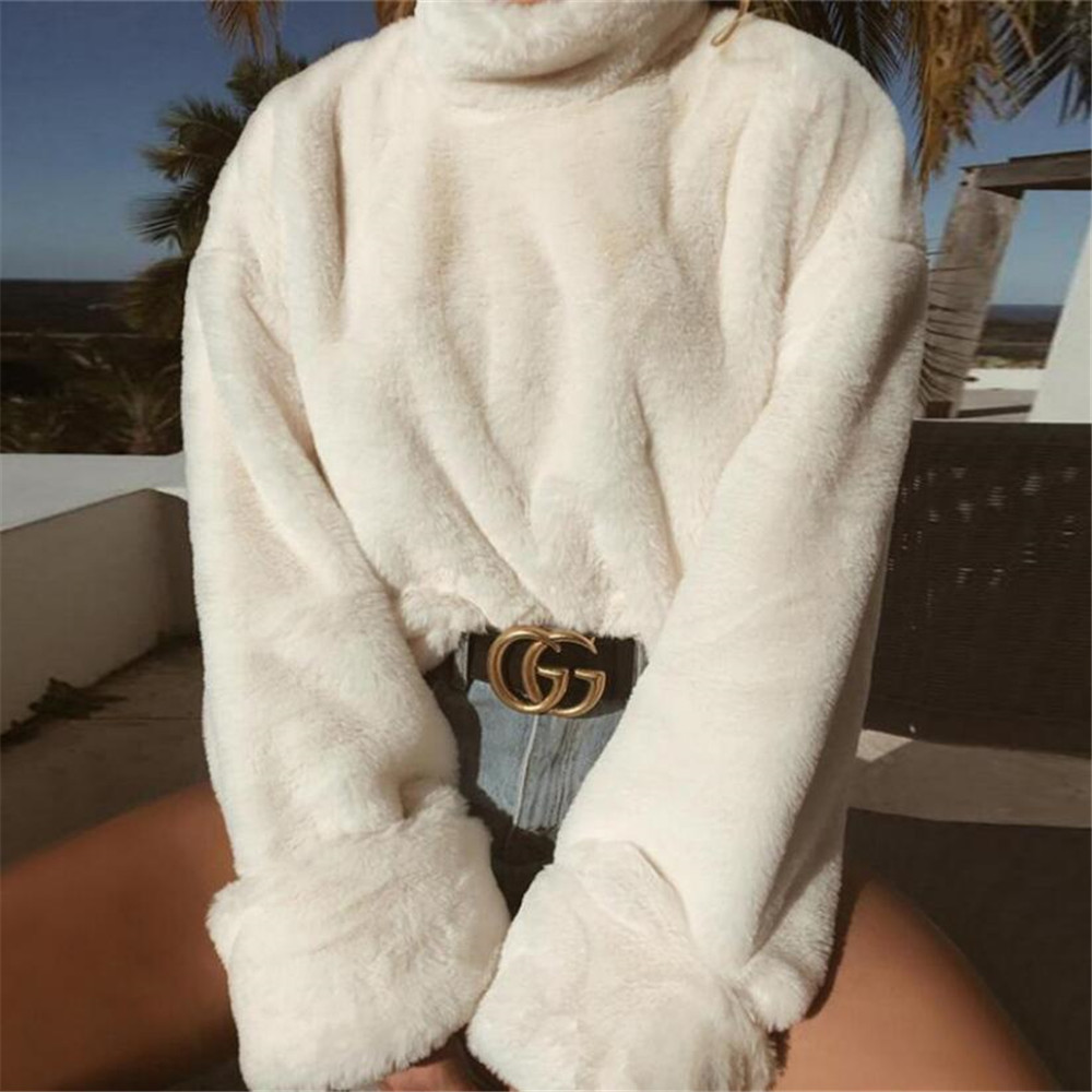 Long Sleeve Soft Plush Autumn Winter Casual Sweater Thick Warm Faux Fur Pullover Tops 2019 Fashion Women Turtleneck Sweaters