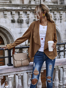 Fashion Suede Women Coats Faux Leather 2020 Winter Solid lapel Patchwork Bat Long Sleeve Casual Open Stitch Coat Streetwear