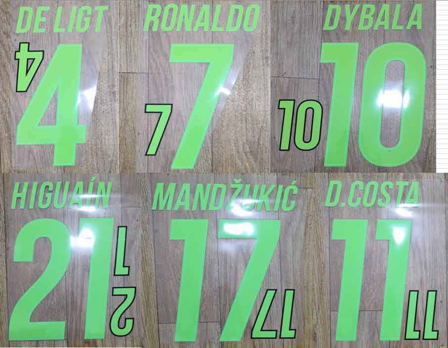2019-2020 groene RONALDO DYBALA DE LIGT D. COSTA MANDZUKIC HIGUAIN nameset patch badge