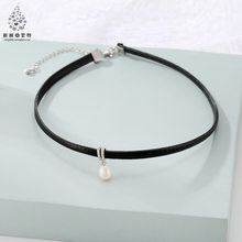 South Korea Harajuku Single Layer Pearl Necklace Simple Choker Neck Accessories Women's Leather Rope Necklace Mountings Accessor(China)