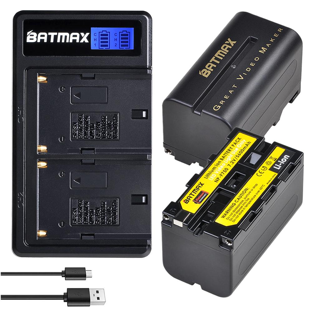 Batmax NP-<font><b>F750</b></font> NP-F770 <font><b>F750</b></font> <font><b>Battery</b></font>+LCD USB Dual Charger for Yongnuo Godox LED Video Light YN300Air II YN300 III YN600 L132T image