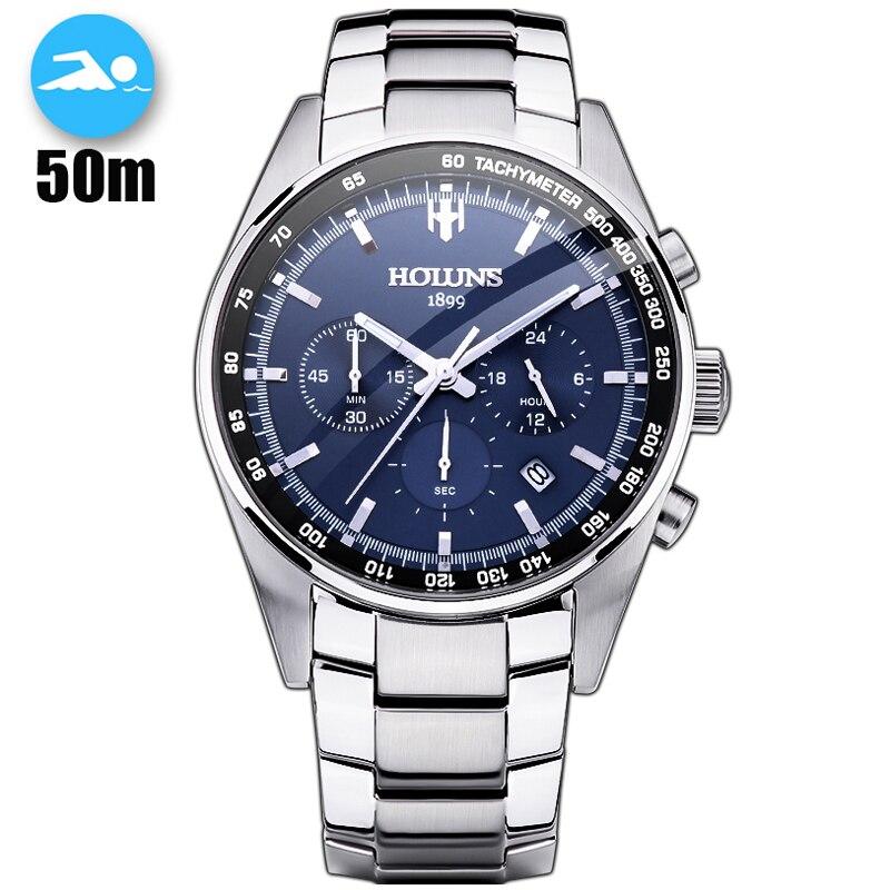 50m étanche à l'eau chaude livraison directe en acier hommes montre montre-bracelet militaire chronographe mode hommes sport montre Relogio Masculino