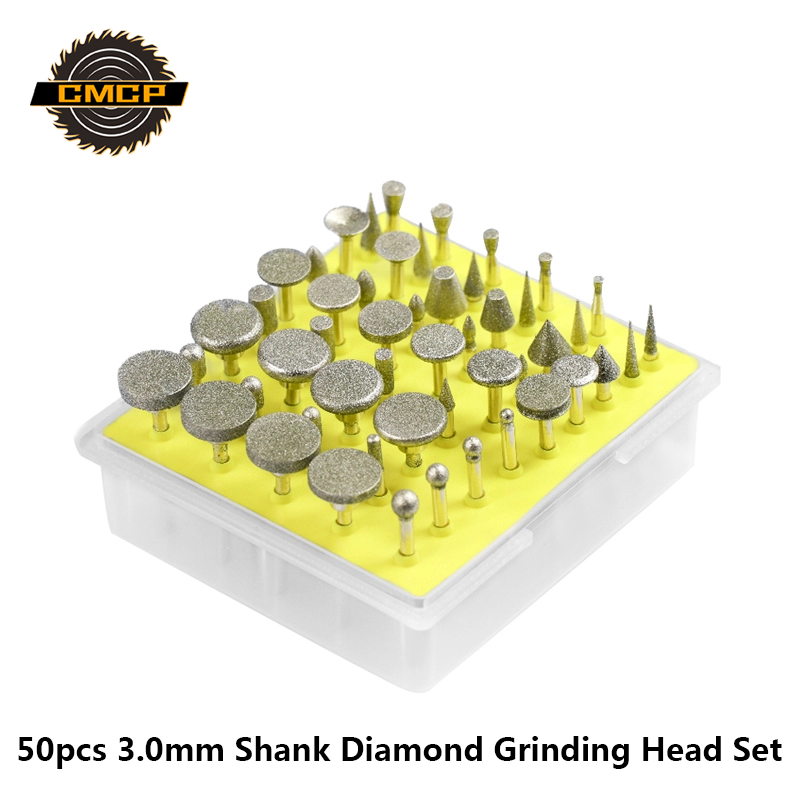 50pcs Diamond Grinding Heads Set 3.0mm  Shank Grinding Burrs For Dremel Abrasive Rotary Tools Grinder Head Diamond Burr Set