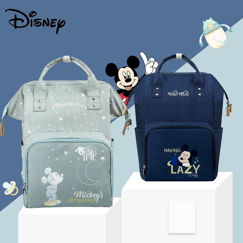 Disney New Cute Minnie Mickey Diaper Bag Waterproof/Baby Care/Mummy Bag Maternity Backpack Large Nappy Bags Moon Star Dark Blue
