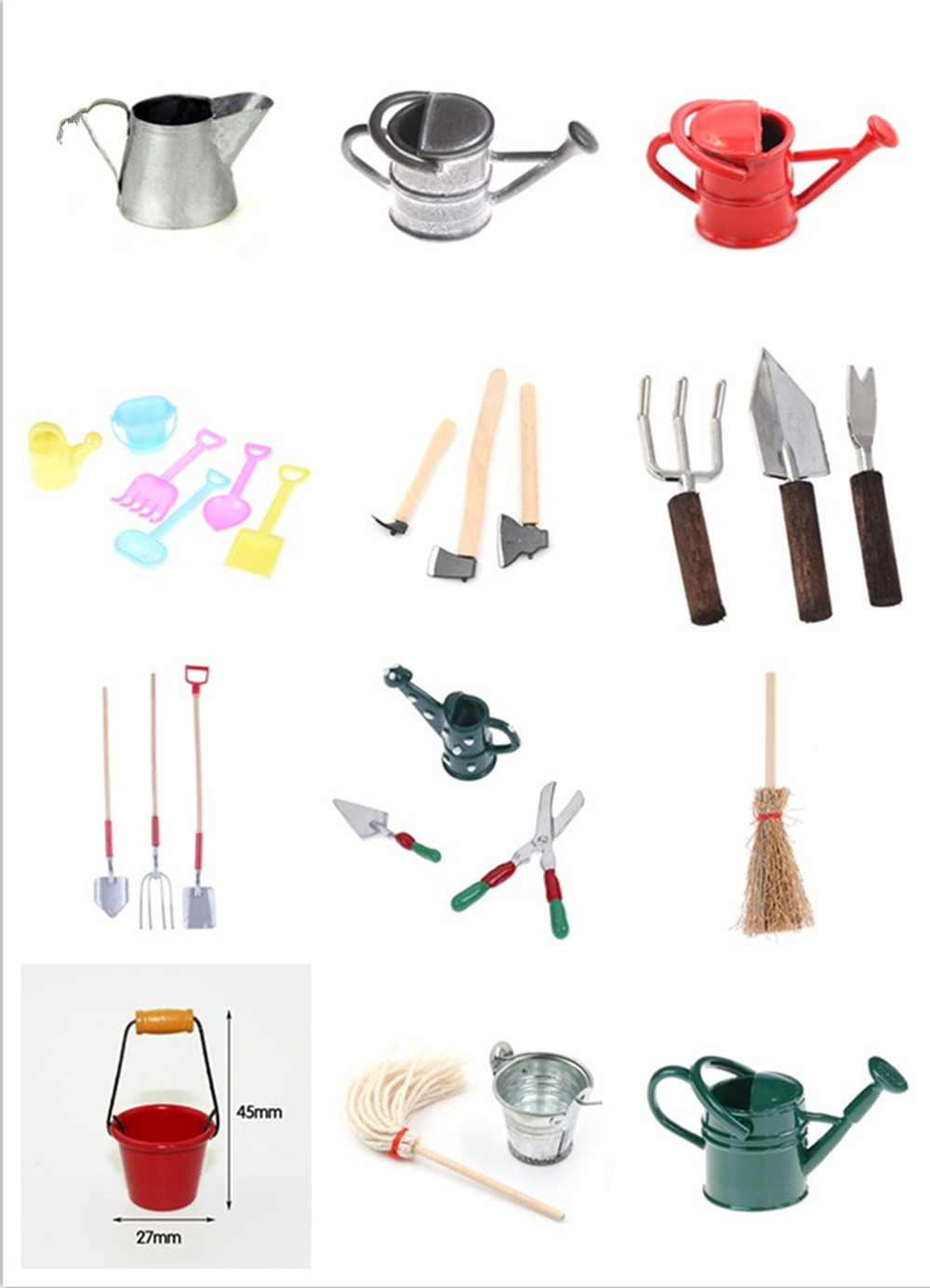 Tin Metal Dollhouse Miniature Watering Can Handicrafts Model Dollhouse Decoration Dollhouse Garden Broom Cleaning Tools